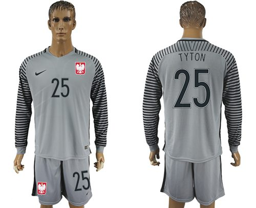 Poland #25 Tyton Grey Goalkeeper Long Sleeves Soccer Country Jersey