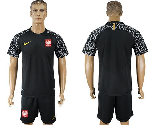 Poland Blank Black Goalkeeper Soccer Country Jersey