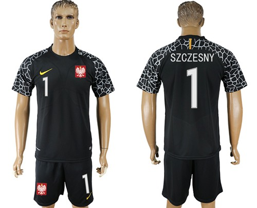 Poland #1 Szczesny Black Goalkeeper Soccer Country Jersey