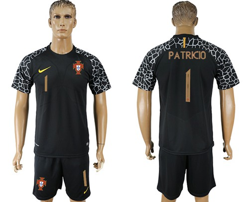 Portugal #1 Patricio Black Goalkeeper Soccer Country Jersey