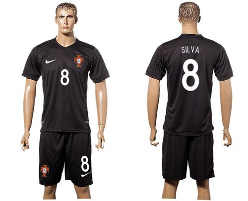 Portugal #8 Silva SEC Away Soccer Country Jersey