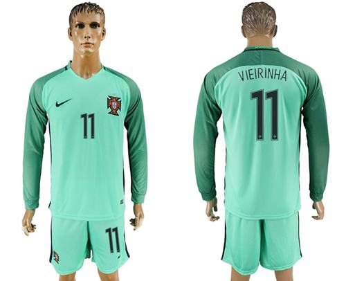 Portugal #11 Vieirinha Away Long Sleeves Soccer Country Jersey
