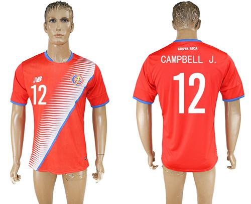 Costa Rica #12 Campbell J. Home Soccer Country Jersey