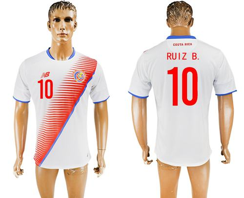 Costa Rica #10 Ruiz B. Away Soccer Country Jersey