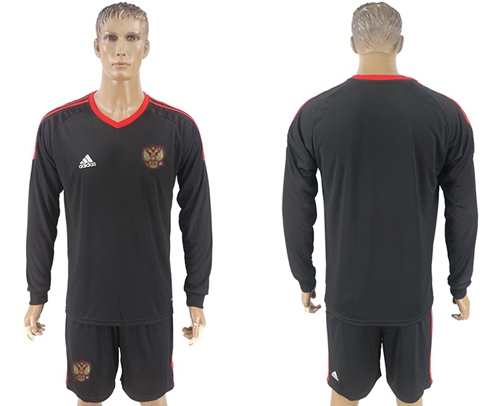 Russia Blank Black Long Sleeves Goalkeeper Soccer Country Jersey