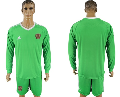 Russia Blank Green Long Sleeves Goalkeeper Soccer Country Jersey