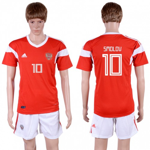 Russia #10 Smolov Home Soccer Country Jersey