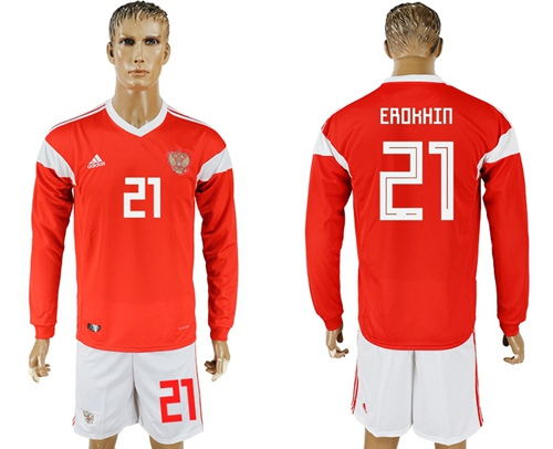 Russia #21 Erokhin Red Home Long Sleeves Soccer Country Jersey