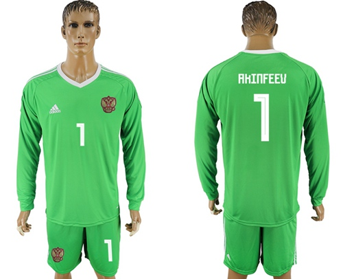 Russia #1 Akinfeev Green Long Sleeves Goalkeeper Soccer Country Jersey