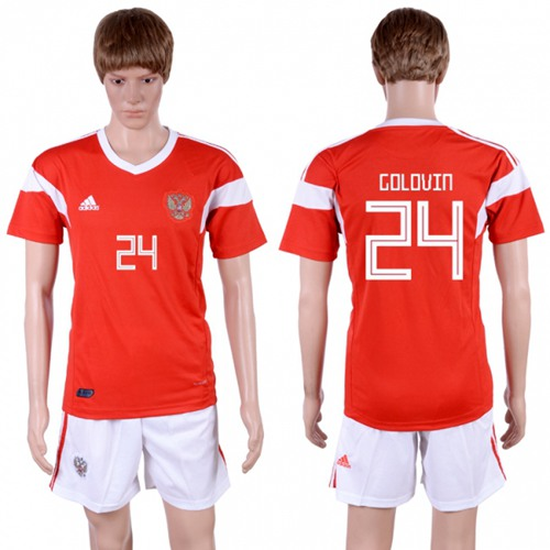 Russia #24 Golovin Home Soccer Country Jersey
