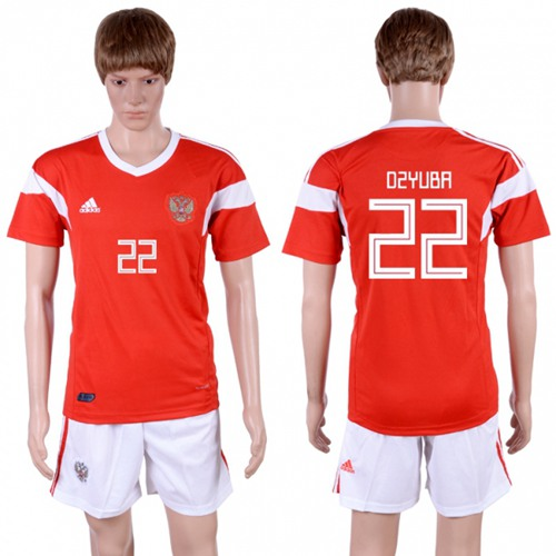 Russia #22 Dzyuba Home Soccer Country Jersey