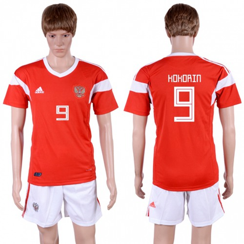 Russia #9 Kokorin Home Soccer Country Jersey