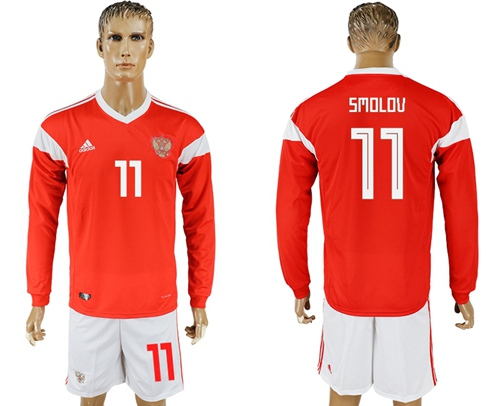 Russia #11 Smolov Red Home Long Sleeves Soccer Country Jersey