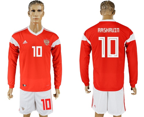 Russia #10 Arshavin Red Home Long Sleeves Soccer Country Jersey