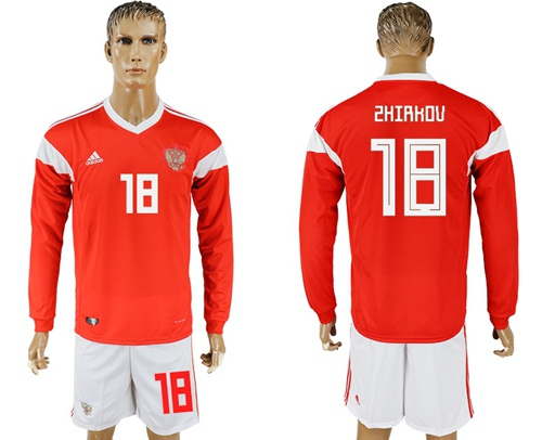 Russia #18 Zhirkov Red Home Long Sleeves Soccer Country Jersey