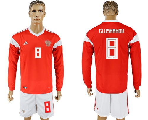 Russia #8 Glushakov Red Home Long Sleeves Soccer Country Jersey