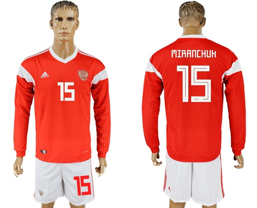 Russia #15 Miranchuk Red Home Long Sleeves Soccer Country Jersey