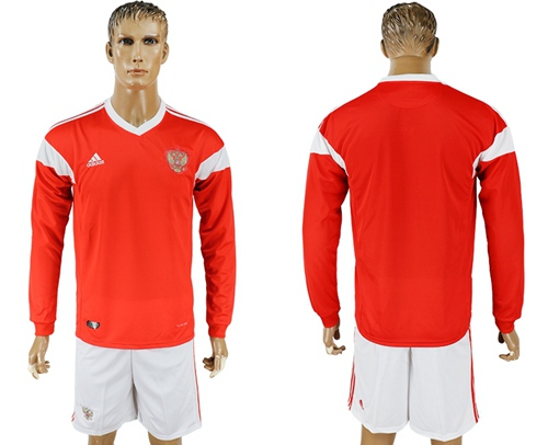 Russia Blank Red Home Long Sleeves Soccer Country Jersey