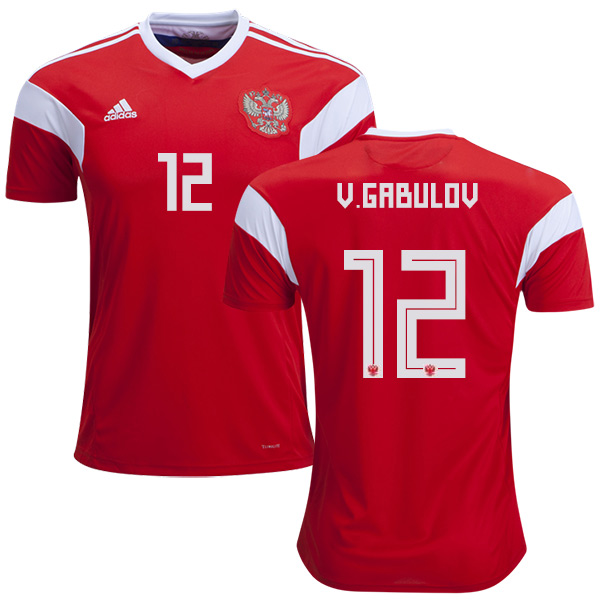 Russia #12 V.Gabulov Home Soccer Country Jersey