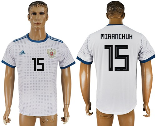 Russia #15 Miranchuk Away Soccer Country Jersey