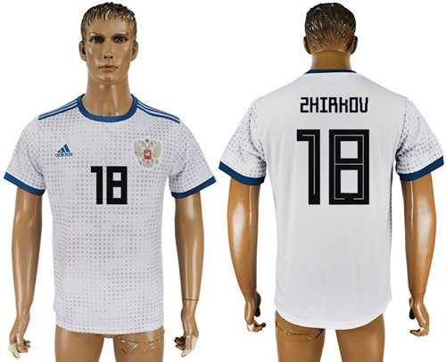 Russia #18 Zhirkov Away Soccer Country Jersey