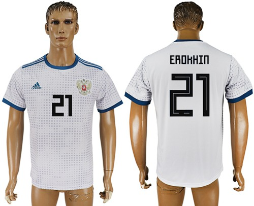 Russia #21 Erokhin Away Soccer Country Jersey