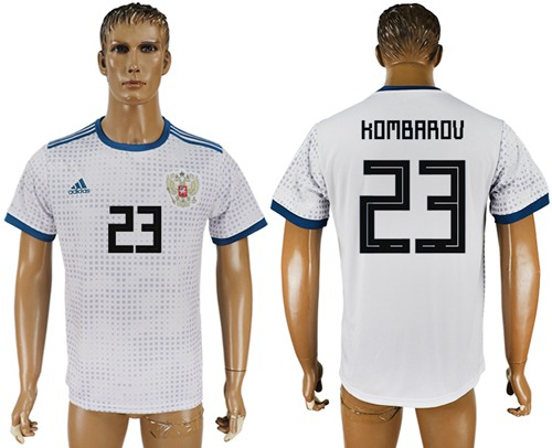Russia #23 Kombarov Away Soccer Country Jersey