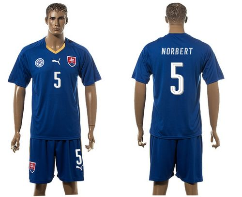 Slovakia #5 Norbert Blue Away Soccer Country Jersey