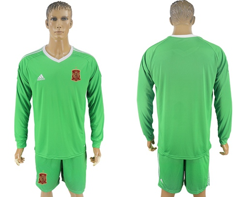Spain Blank Army Green Long Sleeves Goalkeeper Soccer Country Jersey