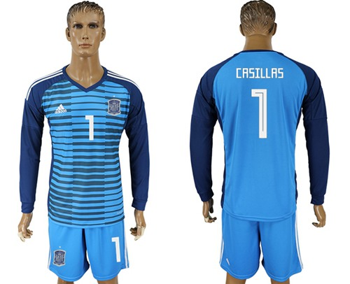 Spain #1 Casillas Blue Goalkeeper Long Sleeves Soccer Country Jersey