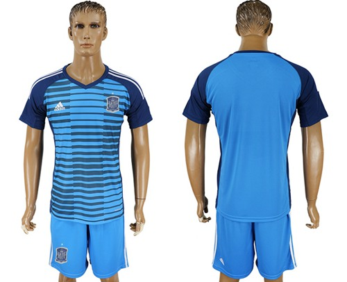 Spain Blank Blue Goalkeeper Soccer Country Jersey