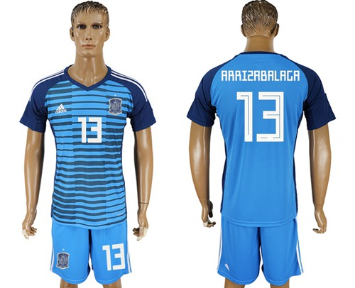 Spain #13 Arrizabalaga Blue Goalkeeper Soccer Country Jersey