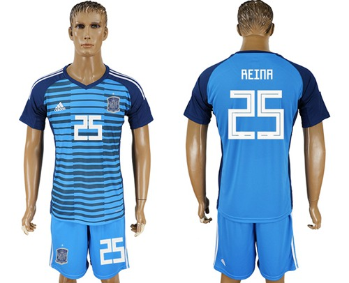 Spain #25 Reina Blue Goalkeeper Soccer Country Jersey