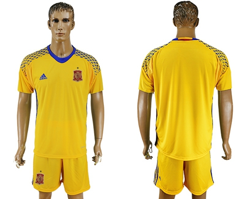 Spain Blank Yellow Goalkeeper Soccer Country Jersey
