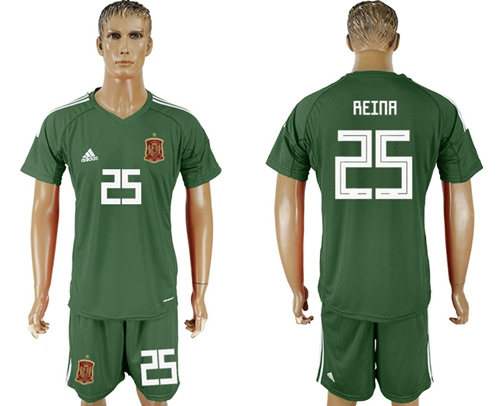 Spain #25 Reina Green Goalkeeper Soccer Country Jersey