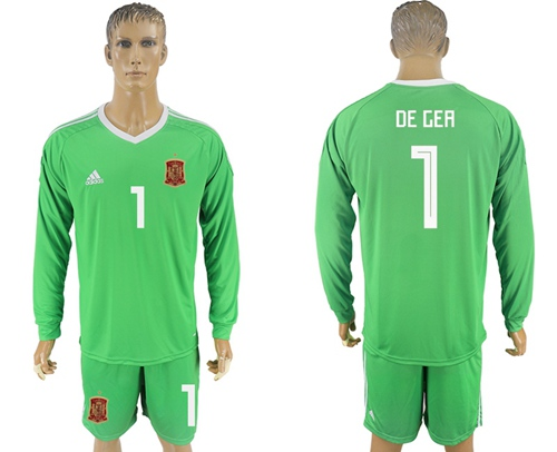 Spain #1 De Gea Green Long Sleeves Goalkeeper Soccer Country Jersey