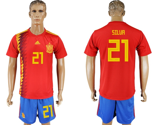 Spain #21 Silva Home Soccer Country Jersey