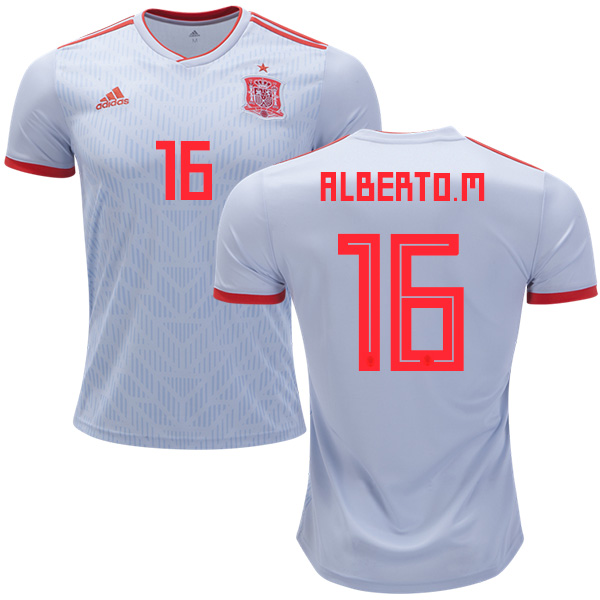 Spain #16 Alberto M. Away Soccer Country Jersey