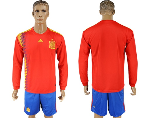 Spain Blank Red Home Long Sleeves Soccer Country Jersey
