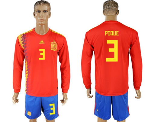 Spain #3 Pique Red Home Long Sleeves Soccer Country Jersey