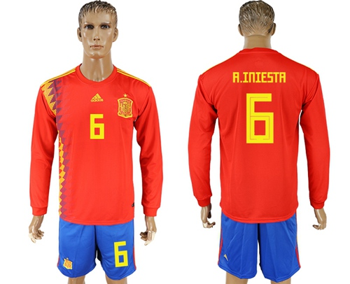 Spain #6 A.Iniesta Red Home Long Sleeves Soccer Country Jersey