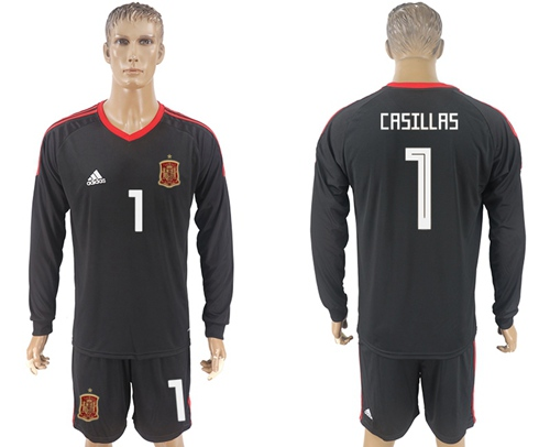 Spain #1 Casillas Black Long Sleeves Goalkeeper Soccer Country Jersey