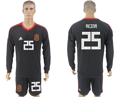 Spain #25 Reina Black Long Sleeves Goalkeeper Soccer Country Jersey