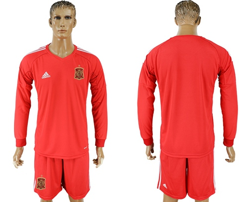 Spain Blank Red Long Sleeves Goalkeeper Soccer Country Jersey