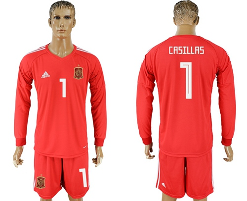 Spain #1 Casillas Red Long Sleeves Goalkeeper Soccer Country Jersey