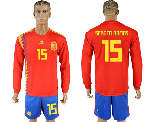 Spain #15 Sergio Ramos Red Home Long Sleeves Soccer Country Jersey