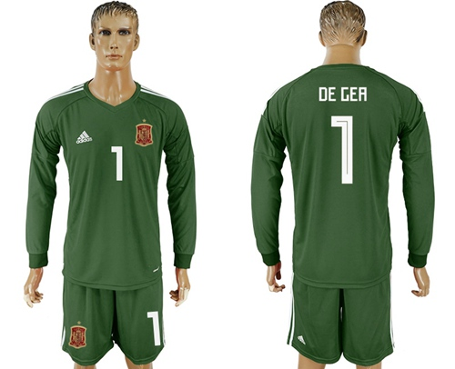 Spain #1 De Gea Army Green Long Sleeves Goalkeeper Soccer Country Jersey