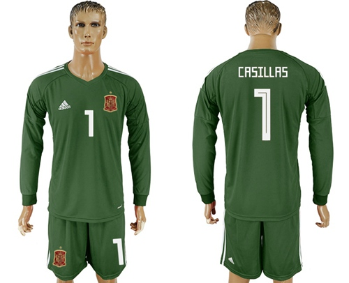 Spain #1 Casillas Army Green Long Sleeves Goalkeeper Soccer Country Jersey