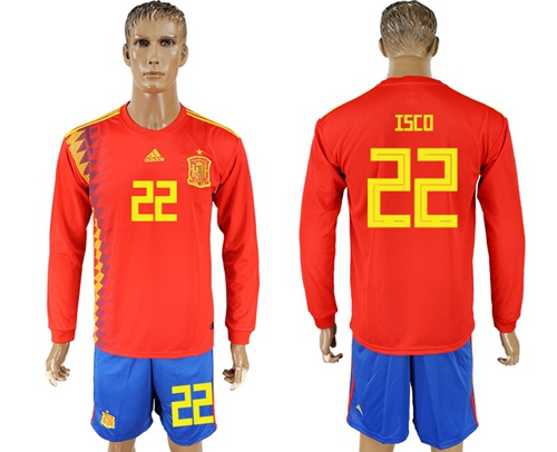 Spain #22 Isco Red Home Long Sleeves Soccer Country Jersey