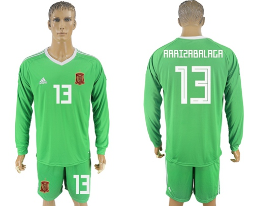 Spain #13 Arrizabalaga Green Long Sleeves Goalkeeper Soccer Country Jersey
